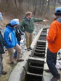 Casco Bay Estuary Program: CBEP Director Curtis Bohlen at Highland Lake fish ladder