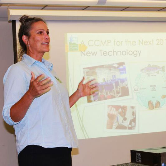 The Partnership for the Delaware Estuary's Executive Director Jennifer Adkins gives an overview of their CCMP revision process at a stakeholder listening session in 2016. Photo from Shaun Bailey.