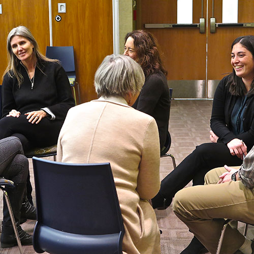 A breakout group at a January 2017 joint meeting of the Long Island Sound Study Citizen's Advisory Committee and Science and Technical Advisory Committee about communicating, with instruction from the Alan Alda Center for Communicating Science out of Stony Brook University. Photo from Judy Preston.