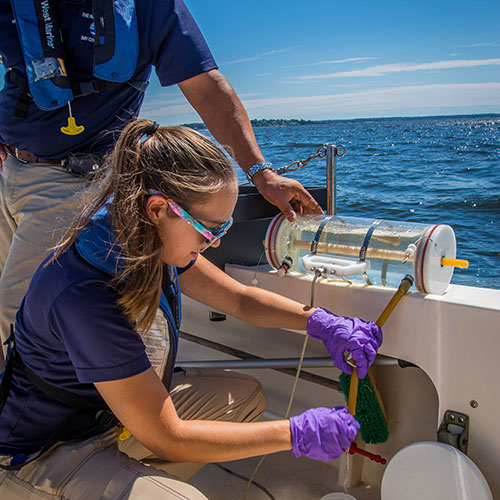 Narragansett Bay Commission researchers sample water quality in Narragansett Bay (Photo- Ayla Fox for the Narragansett Bay Estuary Program)
